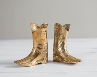 Vintage Brass Cowboy Boots Pair