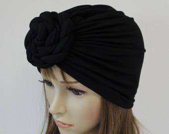 Black turban hat, front knotted turban, elegant head wear, stylish hat, fashion turban hat, bad hair day hat, black hat