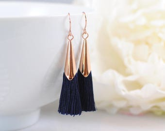 The Delia Earrings - Nav/Rose