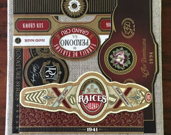 2017 Cigar Band Collage Coaster: Burgundy Variations