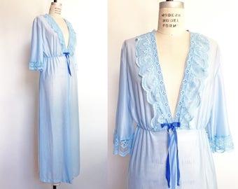 1960s 1970s Blue Robe Vintage 60s 70s Negligee Peignoir Lace Collar Ribbon Trim / Medium Large