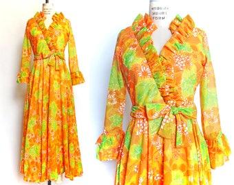 1960s Vintage Dress Party Dress Orange Flower Print Evening Gown Maxi Dress Ruffled Neck Long Sleeves / Medium