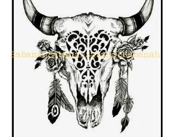 """Skull Bohemian"" series! printed on fusible iron on light textile Bohemian pattern transfer paper boho skull skull bull Buffalo"