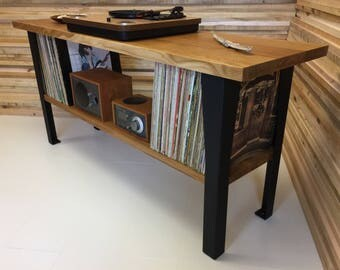 Hudson turntable/record player stand with album storage featuring quartersawn white oak. Stereo console, media stand.