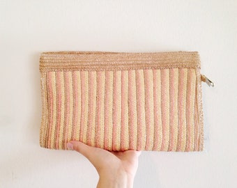 Vintage 1980s Striped Straw Clutch
