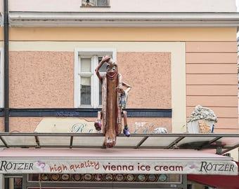 Vintage Vienna Ice Cream Sign with Hotdog Man Art Photo Print