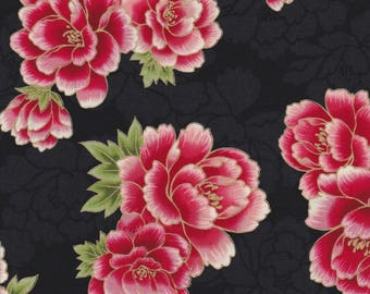 Robert Kaufman Fabric, Imperial Collection 13, Pink & Red Floral Metallic, Black, 100% cotton