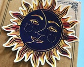 Sun and Moon Mandala Vinyl Sticker, India Yoga Guru Sticker, Travel Decal, Car Decal, Nature Laptop Decal, Tapestry Sticker, Ethnic Design