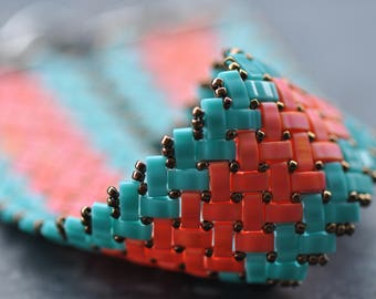 Turquoise, Orange, Herringbone stitch, Half Tila Bracelet, Miyuki beads, Handstitched cuff