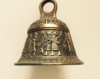 Vintage Brass Bell Egyptian Beheading Scene Small Metal Bell