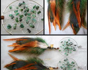 Raw Emerald Bohemian Hippie Dream Catcher Earrings with Hand ArrangedFeathers by The Emerald Lotus
