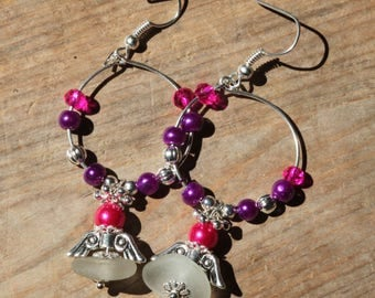 white sea glass in pink and purple and silver earrings silver plated anti tarnished wire wrapped earrings jewelry