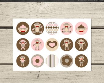 50% OFF Instant Download - Digital Collage Sheet - 1inch circles - 001