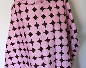 Big brown polka dot pink cotton fabric