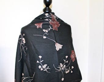 Black linen with flower patterns