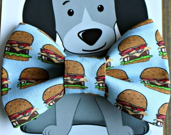 Burger Bow Tie for Cat or Dog, Pet Clothing, Slide on Collar Accessory, Pet Bowtie, handmade in Canada, Food, Collar NOT included, Hamburger