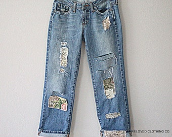 Jeans Boyfriend Destroyed Unique Funky Boho Denim Ripped Patched Frayed Jean Reloved Clothing Co