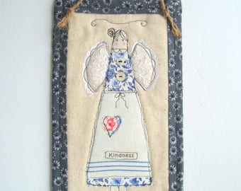 Farmhouse kindness angel wall hanging stitchery in blue and white with vintage embellishments