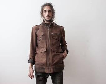 Vintage 90s Brown Jacket Striped Zipper Boho Turtle Neck Jacket Outerwear MensWear Casual