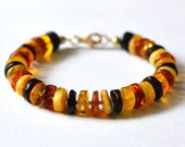 RESERVED for Elizabeth Natural Amber Bracelet Baltic Amber Colorful Amber Bracelet Gold Amber