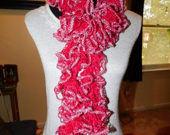 Red and Silver Ruffle Scarf