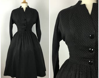 Vintage 1940s Dress Suit - Polka Dot 40s Two Piece Suit - Swing New Look Dress - Full skirt - Small/Medium - UK 10 / US 6 / EU 38 -