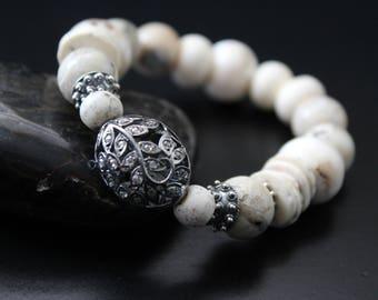 Genuine diamond bead bracelet - African rustic beads bracelet - boho tribal stretch bracelet - primitive stacking bracelet - gift for her