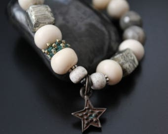 Labradorite and Pyrite Bracelet, Star Charm Bracelet, African Opal Bracelet, Boho Tribal Bracelet, Stretch Gemstone Bracelet, Primitive