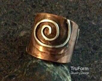 TRIBAL SPIRIT Ring - Silver and Copper Ring, Mixed Metal Jewelry, Copper Jewelry, Native Jewelry, Nature Lover Gift, Unisex Ring, TSM217