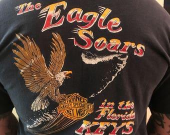 Vintage Harley Key West Florida Hornes Bike Shop pocket shirt eagle soars