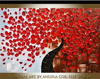 SALE Original Modern Red Flowers Tree Impasto Textured  Palette Knife Painting.Size 36 x 24.