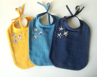 Trio of bibs for baby in cloth diaper and Liberty Bobo stars