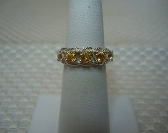 Round Cut Yellow Ceylon Sapphire Band Style Ring in Sterling Silver  # 2068
