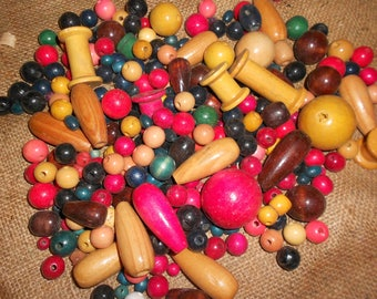 Lot of Assorted Wood Beads