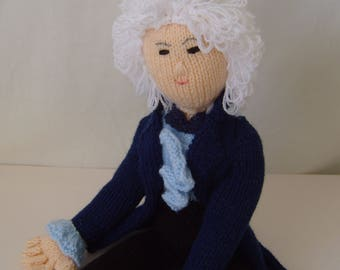 Hand knitted Doctor Who character, Jon Pertwee the 3rd Doctor