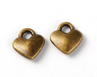 Heart Charms Bronze Heart Charms Miniature Charms Tiny Charms Tiny Heart Charms BULK Charms Wholesale Charms Bronze Charms 50 pieces