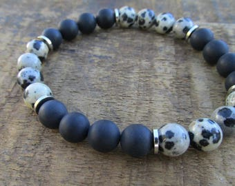 Dalmatian Jasper Beaded Mens Bracelet - Men's Jewelry - Gemstone Bracelet - Black Bracelet - Beaded Bracelet - The Artisan Group - M0919