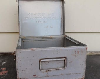 ON SALE Vintage Industrial, Storage Box, Instrument Box, Steel, Grey, Q.M. Model 1-42 Tester Low Voltage Circuit Box Only