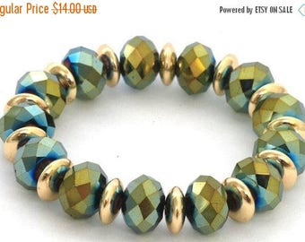 ON SALE Shiny Green Beaded Bracelet with Golden Hoops