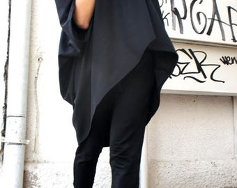 SALE Oversized Loose Extra Large Black Blouse / Asymmetric Tunic Top A01103