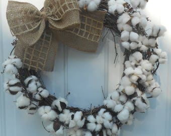 Grapevine Cotton wreath Farmhouse wreath Cotton Grapevine wreath Farmhouse door decor  Ready to ship
