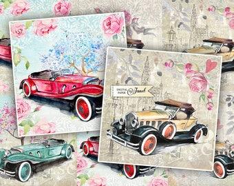 Wedding Car - set of 6 cards - digital collage sheet - Printable Download