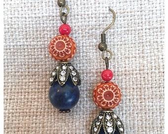 Orange Flower Dangle Earrings