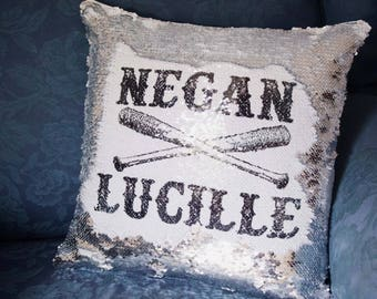 Negan x Lucille, The Walking Dead, Vampire Bat, Walking Dead Decor, Hidden Message, Mermaid Cushion
