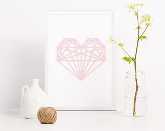 Geometric heart print, pink heart poster, first wedding anniversary, custom paper anniversary, baby nursery art, nursery decor, baby print
