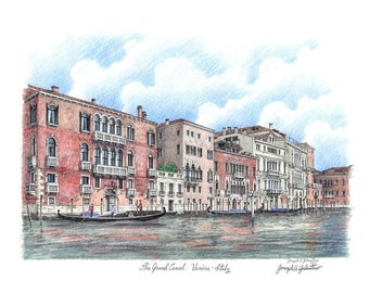 Venice Art print Grand Canal Artist Signed 8 x 10 Giclee Art Print Italy Gondolas  Vacation Personalized Trip