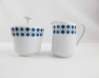 Creamer and Lidded Sugar Bowl From 'Mitterteich, Bavaria'  -  Pure White With Blue/Green Starbrusts - Unique and Fun - Add to Your Set