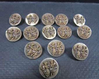 Antique Highlander figural steel buttons with marcasite