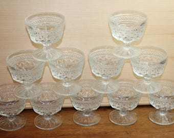 Lot Of 11 Vintage WEXFORD Pattern Tall Sherbet Dishes By Anchor Hocking Made 1962 To 1998