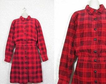30% OFF FLASH SALE Vtg 80s 90s Plaid Corduroy Button Up Dropwaist Grunge Dress || size Xl ||